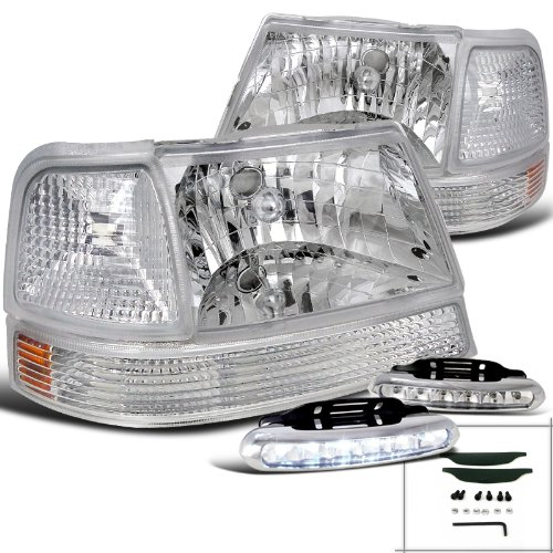 Ranger Clear Head Lights+Corner Parking Lamps+White LED Driving - Clear Ranger Corner Ford