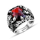 Scorpio King 2-925 Sterling Silver Red Zircon Stone Scorpio Patterned Ring