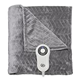 Serta Heated Electric Chevron Embossed Throw - with 5 setting controller, 50 x 60'', Gray Model 0917