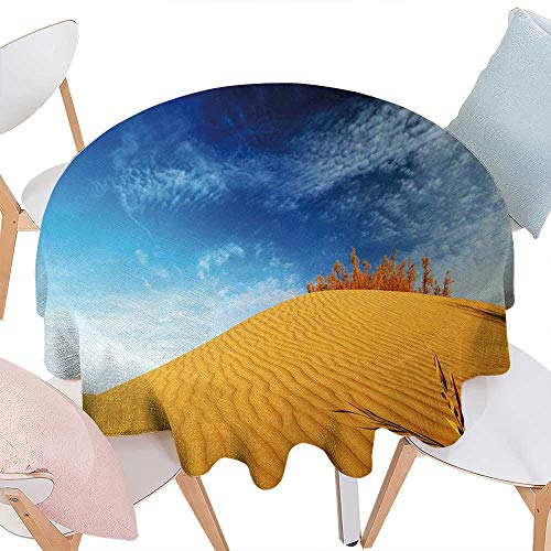 cobeDecor Landscape Dinner Picnic Round Table Cloth Hot Desert with Sand Dunes and Dry Plants with Blue Sky Nature Art Print Waterproof Round Table Cover for Kitchen D60 Blue and Apricot