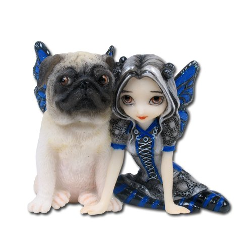 3.25 Inch Resin Little Pug Dog and Pixie Girl with Wings - Dog Figurine Friends