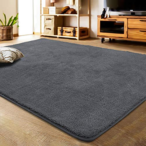 LOCHAS Luxury Shag Area Rug Modern Indoor Rugs for Bedroom Living Room Children, Super Soft and Cozy Carpet, Non-Slip Kids Play Mat Floor Carpets, 4×6 Feet Dark Gray