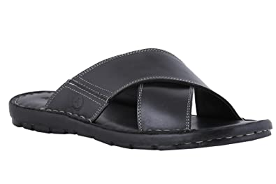 9c9af9573f4c Image Unavailable. Image not available for. Colour  Amster Men Black  Genuine Leather Sandals