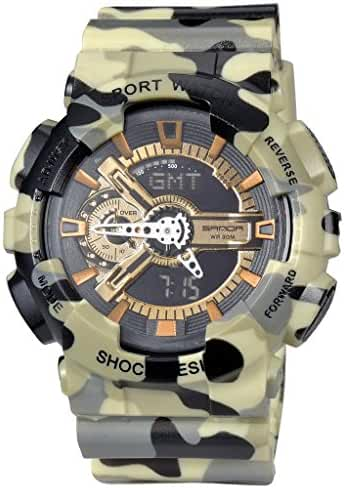 Military Mens Sport Camouflage Quartz Electronic LED Back Light Alarm Watch For Boys Yellow