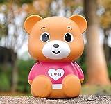 Goodscene Cartoon Piggy Bank Dress Bear Piggy Bank Shatter-Resistant Resin Ornaments Birthday Gift (Pink)