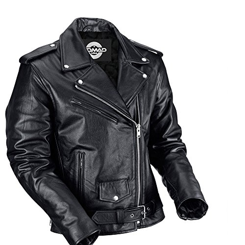 Mens Classic Leather Motorcycle Jacket - 6