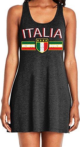 Amdesco Ladies Italia Flag and Shield, Italy Italian Pride Casual Racerback Tank Dress, Black XL