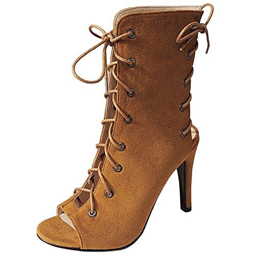 Mujer Brown Cordones Zapatos Moda VulusValas Gladiador nPqgw0aWTa