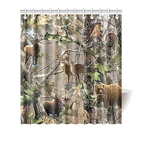 Moslion Bird Bear Deer Elk Realtrees Real Tree Design Shower Curtain Standard Inch Size 66