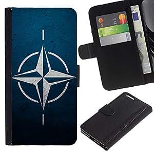 LECELL--Cuero de la tarjeta la carpeta del tirón Smartphone Slots Protección Holder For Apple Iphone 6 PLUS 5.5 -- OTAN Estrella --