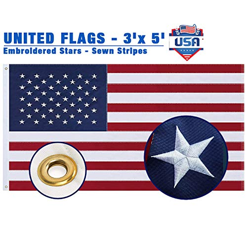 Woworld 3x5 Feet American Flag Embroidered Stars Nylon USA Flag Outdoor Indoor US Flag Heavy Duty Fade Resistant Brass Grommets