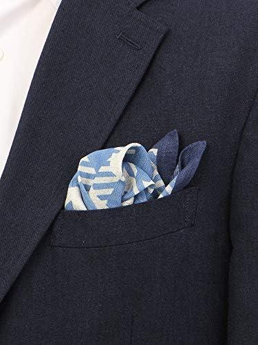 MADE IN ITALY/クアトロプリント リネンポケットチーフ ブルー×サックスブルー×オフホワイト