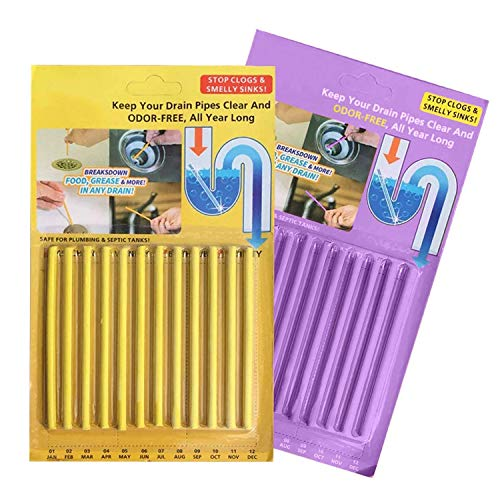 Drain Cleaner Sticks,Clean Batonnet Deodorizer Package, 24 Pack. As Seen on TV Keeps Drains Pipes Clear(24pack) (Drain Main Cleaner)