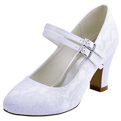 ElegantPark HC1701 Women Pumps Chunky Heel Mary Jane Clos...