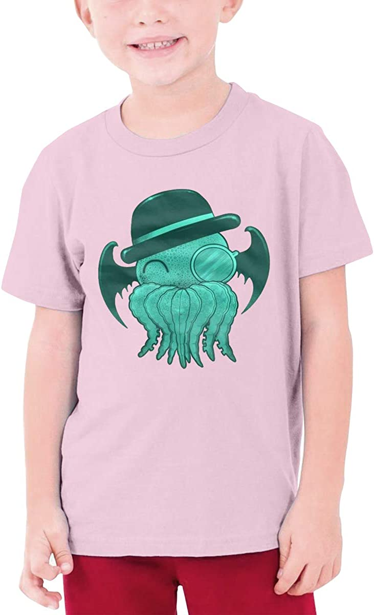 Youth Graphic Tshirts Teenage Boys Girls Short Sleeve T-Shirt Cute Gentle-Cthulhu-with Hat Printed T Shirt Tees Tops