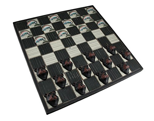 Zeckos Wood Board Games Rainbow Trout And Woodland Bear Rustic Wooden Checkerboard Game Set 18.75 X 18.75 X 1 Inches Black