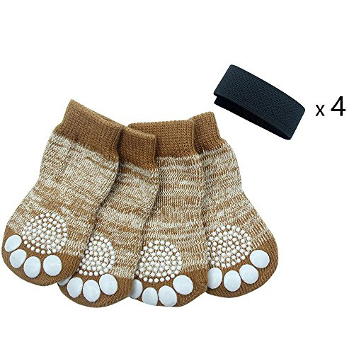 Dog Small Socks - PUPTECK Anti-Slip Dog Socks Pet Paw Protection for Indoor Wear Small
