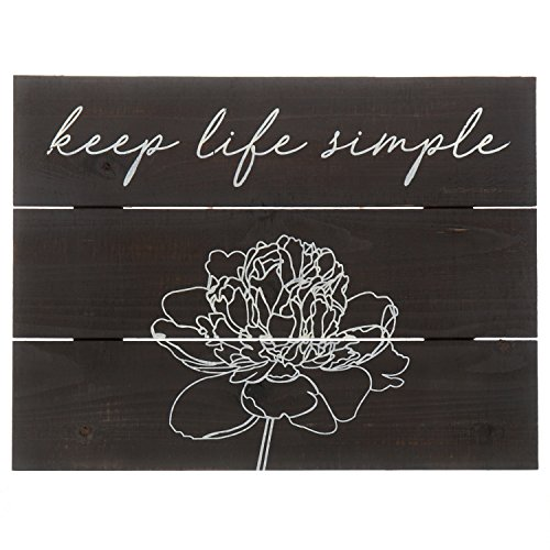 Barnyard Designs Keep Life Simple Distressed Wood Plaque, Primitive Country Farmhouse Home Decor Sign 16
