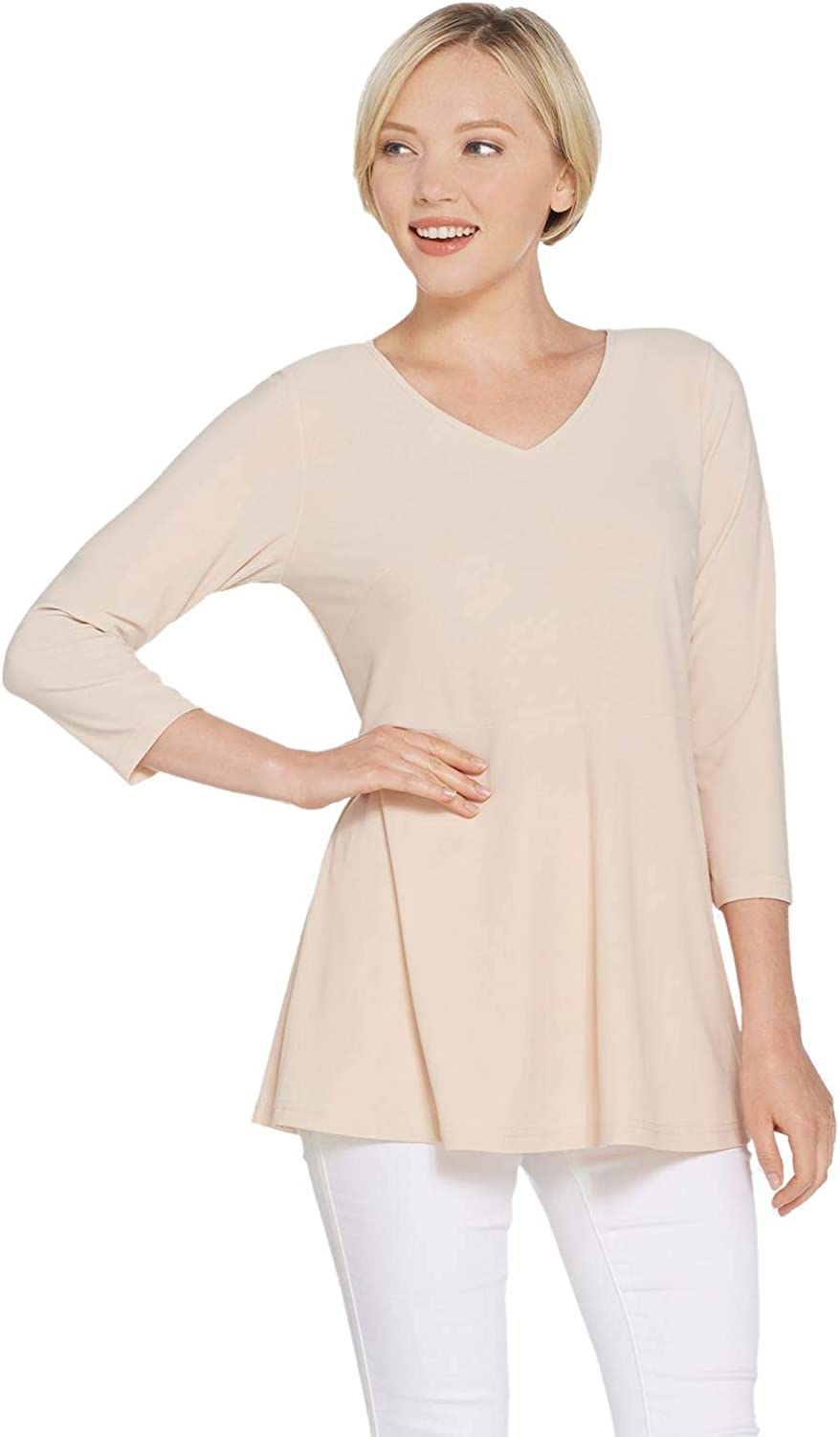 Linea by Louis Dell'Olio Womens Moss Crepe Peplum Detail Top M Alabaster A307191