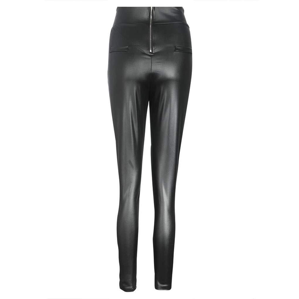 Otoño Faux de Las Mujeres del Club del Cuero Flaco Pantalones del lápiz Trasero de la Cremallera de Cintura Alta Pantalones