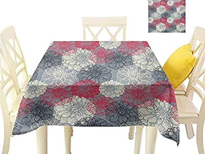 familytaste Easter tablecloths Dahlia Flower,Hand Drawn Repeating Big and Small Flowers Motif with Color Element Effects,Multicolor Square Polyester Tablecloth