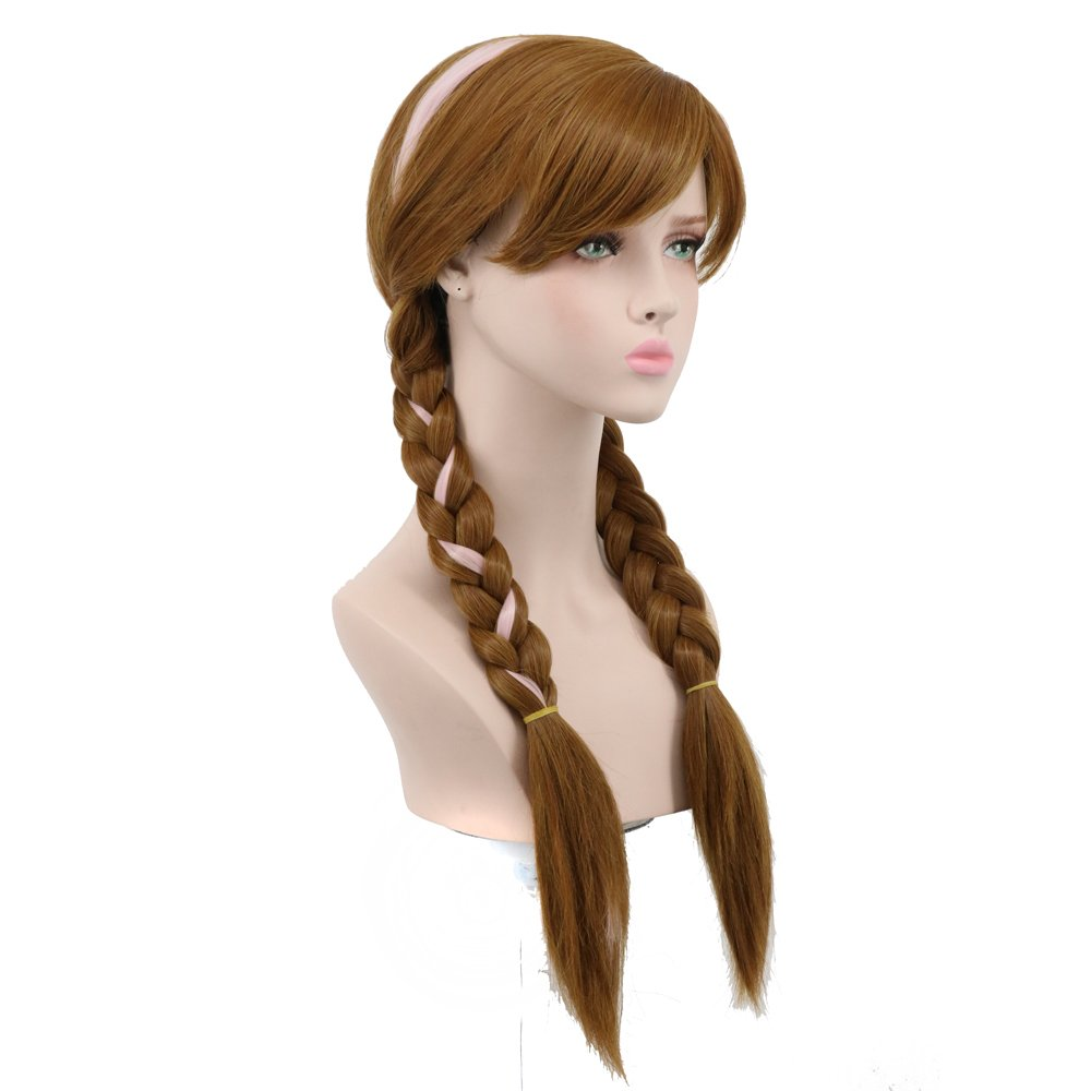 Yuehong Long Brown Cosplay Weaving Double Tail Braided Hair Wigs Synthetic Wig Costume