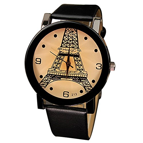 Binmer(TM)Fashion PU Leather Belt Simple Watches Eiffel Tower Casual Couples Watches 1 Pair Black