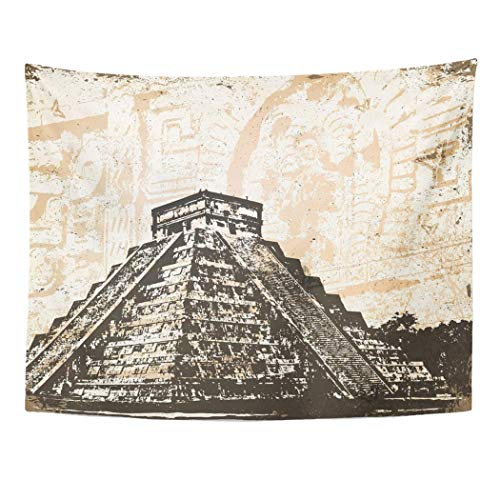 Tarolo Wall Tapestry Aztec Mayan Pyramid Chichen Itza in Mexico