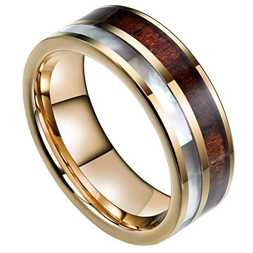 DOUX 8mm Mens Tungsten Carbide Ring Real KOA Wood Rare White Shell Inlay Wedding Band High Polished 9.5