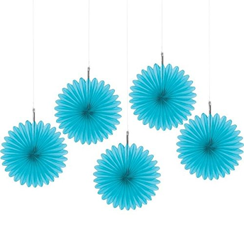 Amscan Caribbean Blue Mini Hanging Fans, 5 Ct. | Party Decoration