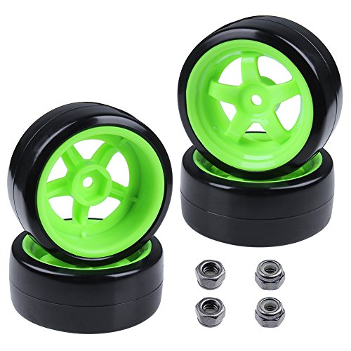 Hobbypark Hard Plastic 26mm RC Drift Car Tires & Wheel Rims Green 12mm Hex for 1/10th Model (Pack of 4)