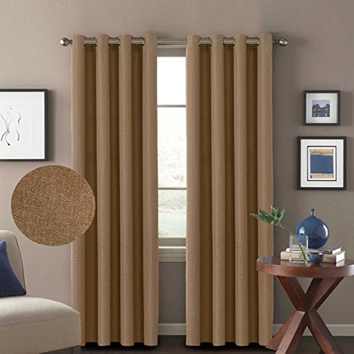 H.VERSAILTEX Thermal Insulated Premium Drapery Linen Like 85% Blackout Curtains for Bedroom,52 by 84 inch-Tan (Set of 2,Grommet Window Treatment Panels)