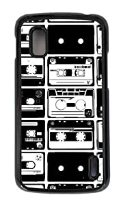 Google Nexus 4 Case,MOKSHOP Adorable Cassette Collage Hard Case Protective Shell Cell Phone Cover For Google Nexus 4 - PC Black