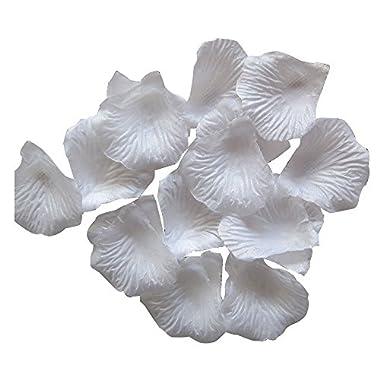 Outop 1000pcs White Silk Rose Petals Artificial Flower Wedding Party Vase Decor Bridal Shower Favor Centerpieces Confetti