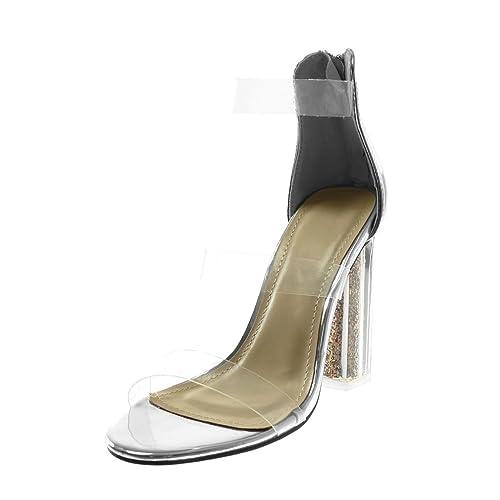 Angkorly - Chaussure Mode Sandale Escarpin Disco femme transparent Paillettes lanière Talon haut bloc 10.5 CM - Champagne - B7686 T 5GbrO