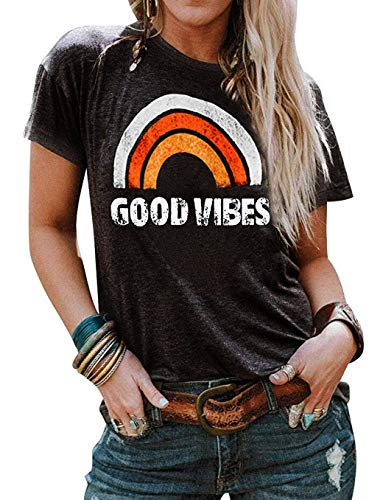 - Vaise Women Good Vibes Tank Tops Long Sleeve and Sleeveless Loose Graphic Tank Tops Casual Summer Rainbow Good Vibes Shirt (XL, W-Orange)