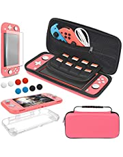 4 in 1 Accessories Kit Compatible with Nintendo Switch Lite, YUANHOT Travel Bag, Carrying Case & Protective Case & Tempered Glass Screen Protector & 6 Thumb Grip Caps - Coral