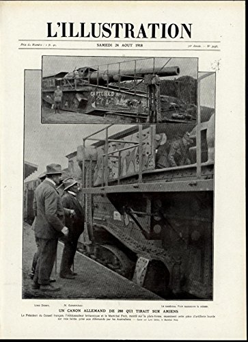 German 280 Cannon Firing on Amiens France War 1918 great vintage print (German Cannon)