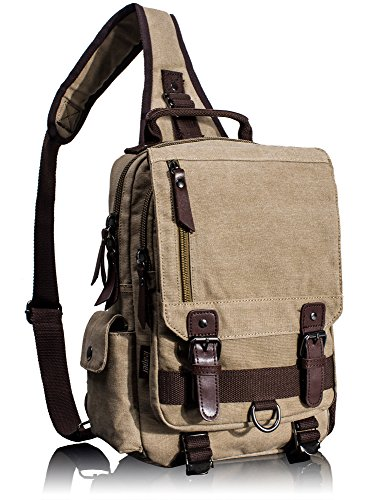 Leaper Canvas Messenger Bag Sling Bag Cross Body Bag Shoulder Bag Khaki, L