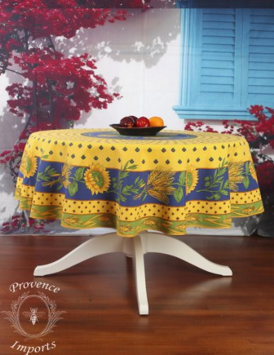 Tournesol Yellow 70'' Round French Provencal Polyester Tablecloth by Provence Imports