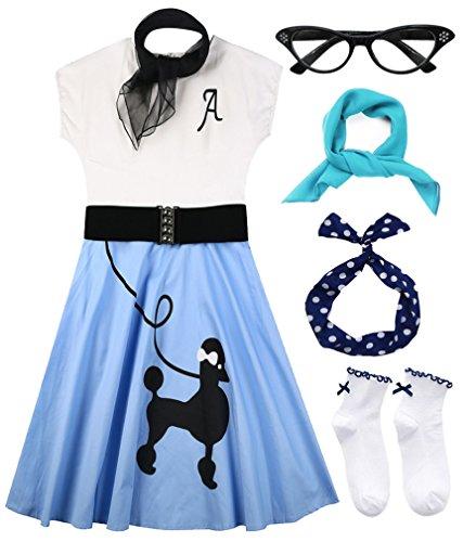Hofolio 1950s Women Poodle Skirt Scarf Sock Costume Set -