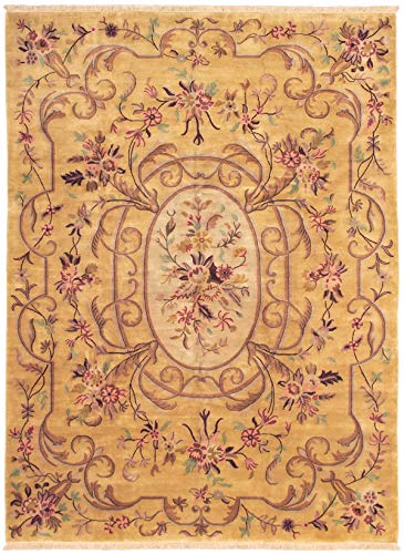 (eCarpet Gallery Large Area Rug for Living Room, Bedroom | Hand-Knotted Wool Rug | Savonnerie Bordered Brown Rug 10'1