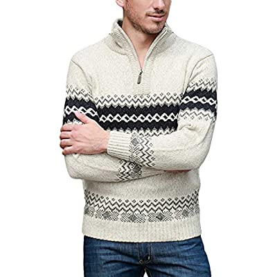 Wholesale Nidicus Mens Half Zipper High Collar Wave Printed Wool Blend Knit Sweater for sale