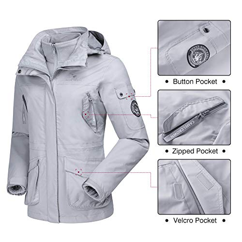 04786451 CAMEL CROWN Womens Waterproof Ski Jacket 3-in-1 Windbreaker Winter Coat  Fleece Inner for Rain Snow Outdoor Hiking