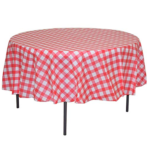 MATENG 10 Pack Premium Round Plastic Checkered BBQ Tablecloth - Red & White Gingham Checkerboard Disposable Plastic Tablecloth 84 inch.