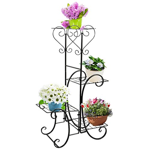 Moutik Metal Plant Stand 4 Tier Shelves for Indoor and Outdoor Plant Flower Stand Rack Shelf for Multiple Plants,Black by Moutik