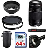 Canon EF 75-300mm f/4-5.6 III USM Lens Bundle + UV Filter + Polarizer Filter + 2 In 1 Lens Cleaning Pen + High Speed 64GB Memory Card + Rubber Hood + Deluxe Lens Case
