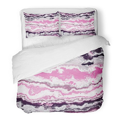 SanChic Duvet Cover Set Pink Marble Gem Stone Pattern Agate Onyx Cloud African Aluminosilicate Decorative Bedding Set with 2 Pillow Shams Full/Queen Size