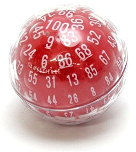 D100 Opaque ''Zocchihedron'' Red with white 100-sided Die