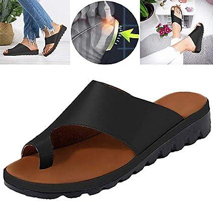 Verano Mujer Sandalias cómodos Plataformas Plana Cuero de PU Zapatillas Corrector de juanetes ortopédico Casuales Antideslizante Respirable Zapatos ...